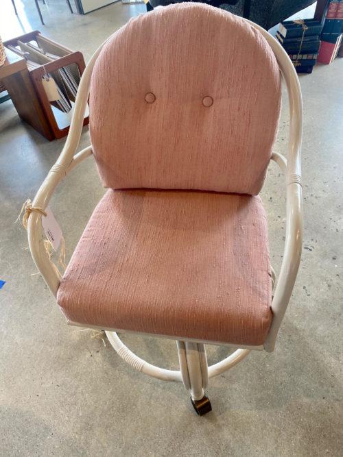 White Rattan Swivel Chair Pair