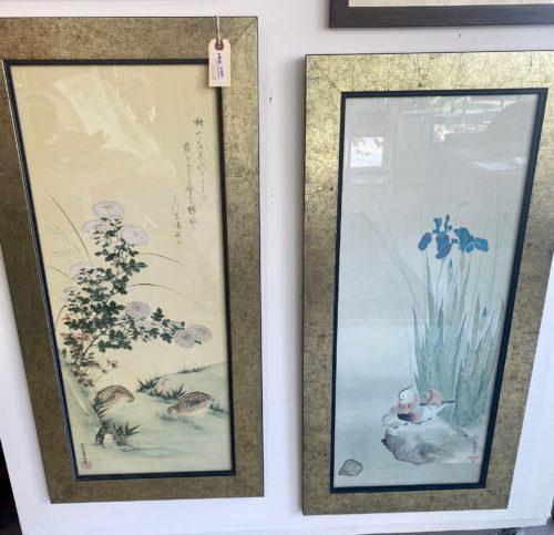 Asian Gold Framed Sakai Hoitsu And Tosa Mitsuoki Art Prints Pair Copy