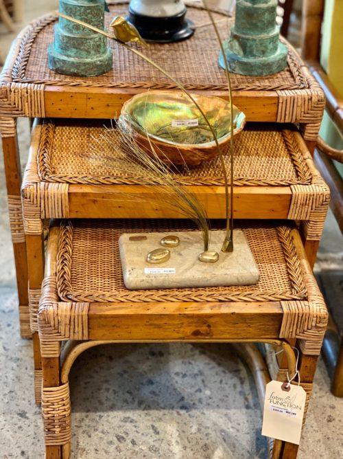 Bamboo Rattan Nesting Tables Set