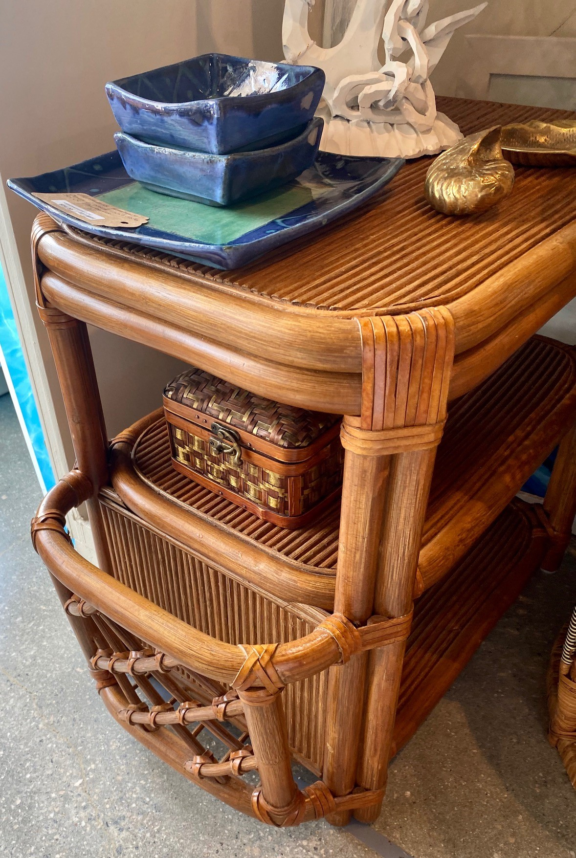 Hb Bamboo Rattan Side Table Magazine Rack Pair Form Function