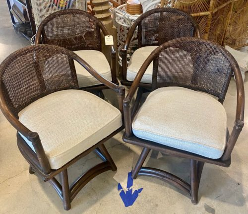 Ficks Reed Swivel Cane Back Chairs Set