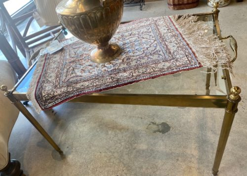 Glass Brass Handle Small Coffee Table