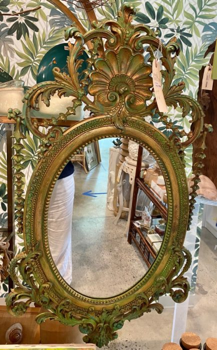 Green Gold Ornate Mirror