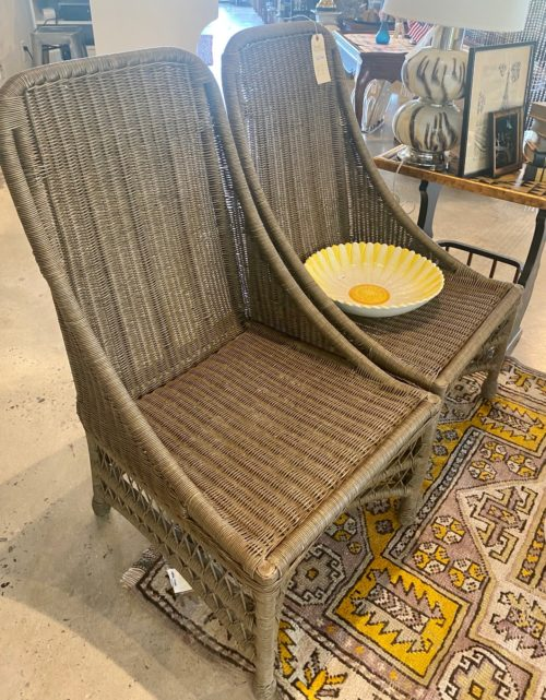 Grey Outdoor Wicker Tall Chairs Pair