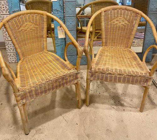 Wicker Bamboo Arm Chair