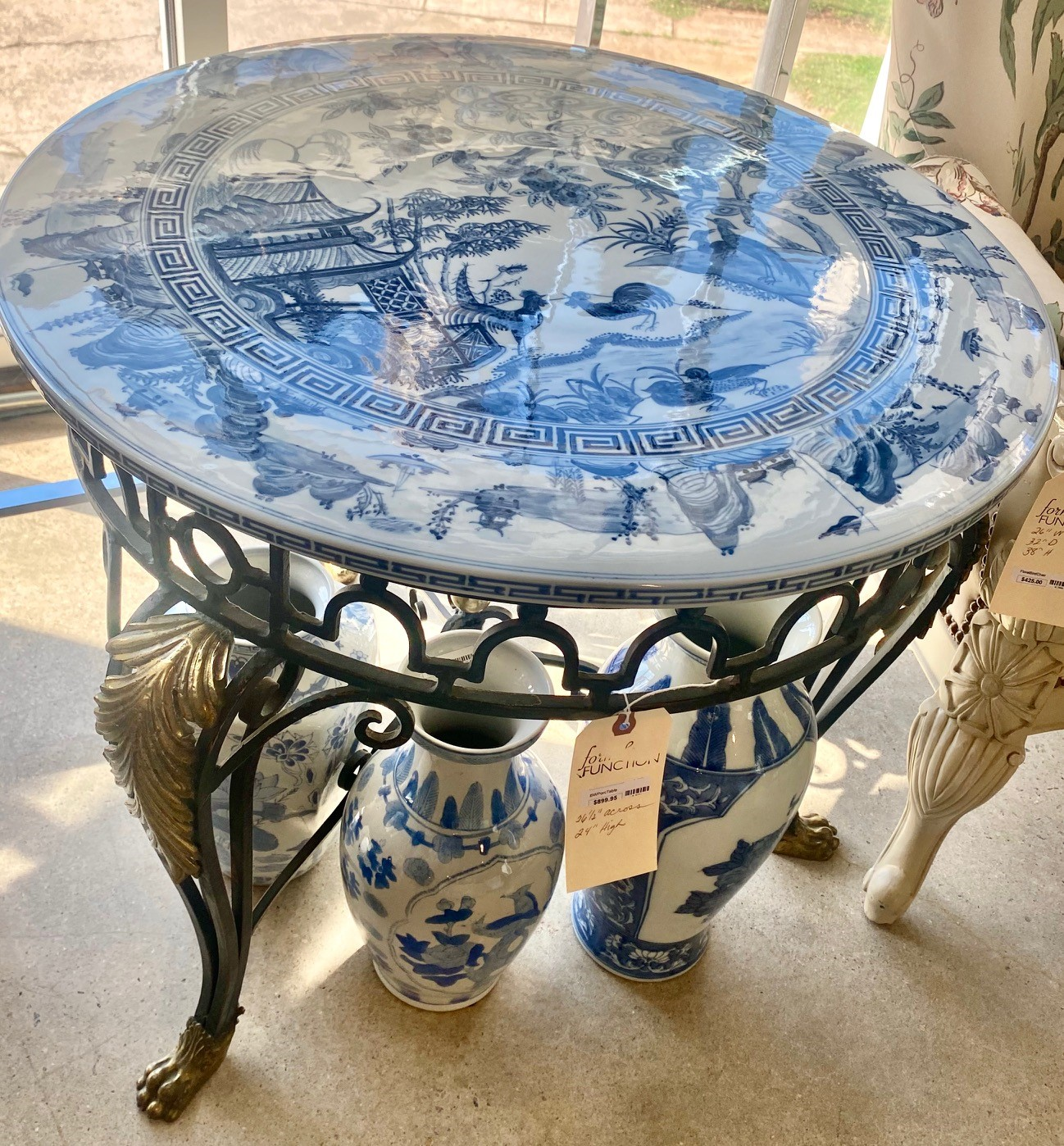 Blue And White Asian Porcelain Top Iron Gilded Leg Table