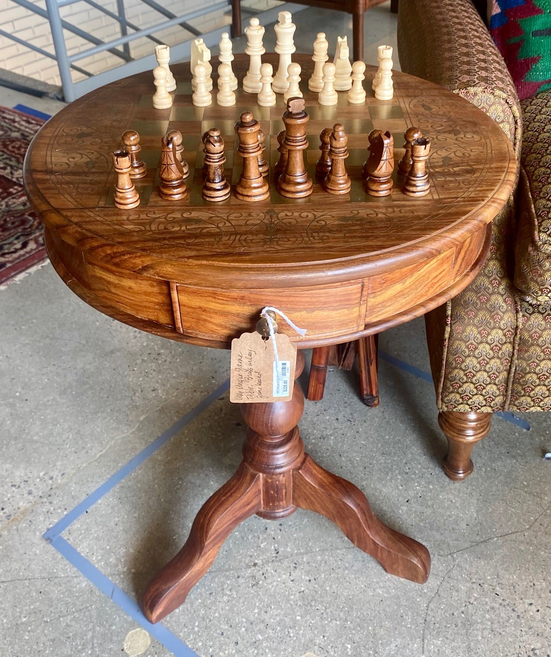 Brass Inlay Round Game Chess Table