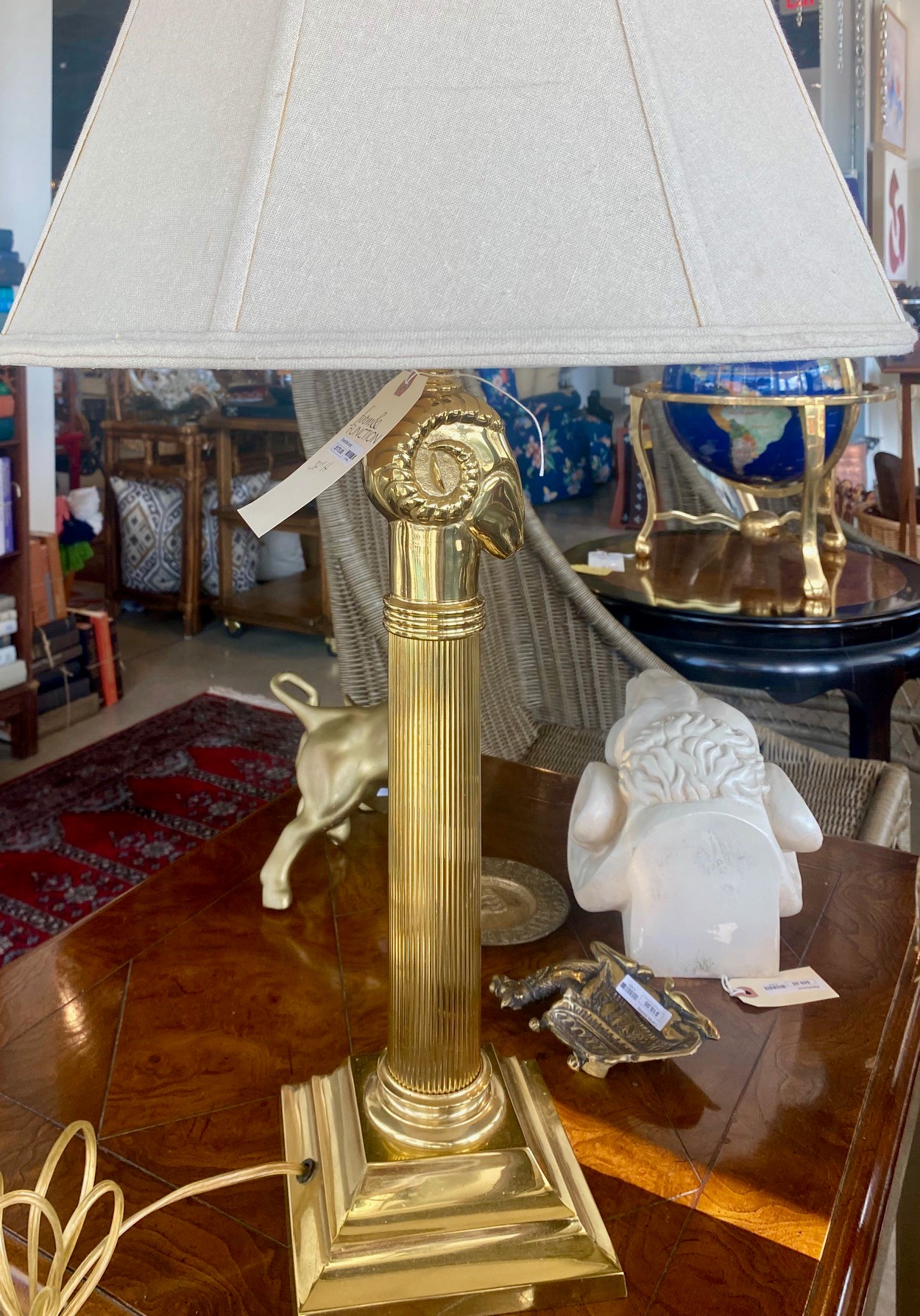 Brass Ram's Head Lamp