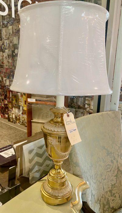 Brass Ribbon Tassel Lamp Pair
