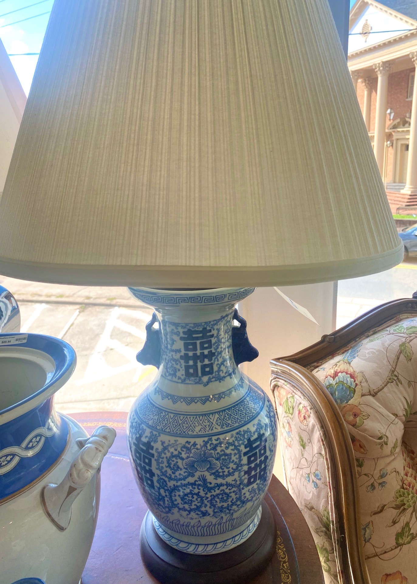 Chinese Blue And White Porcelain Handled Lamp