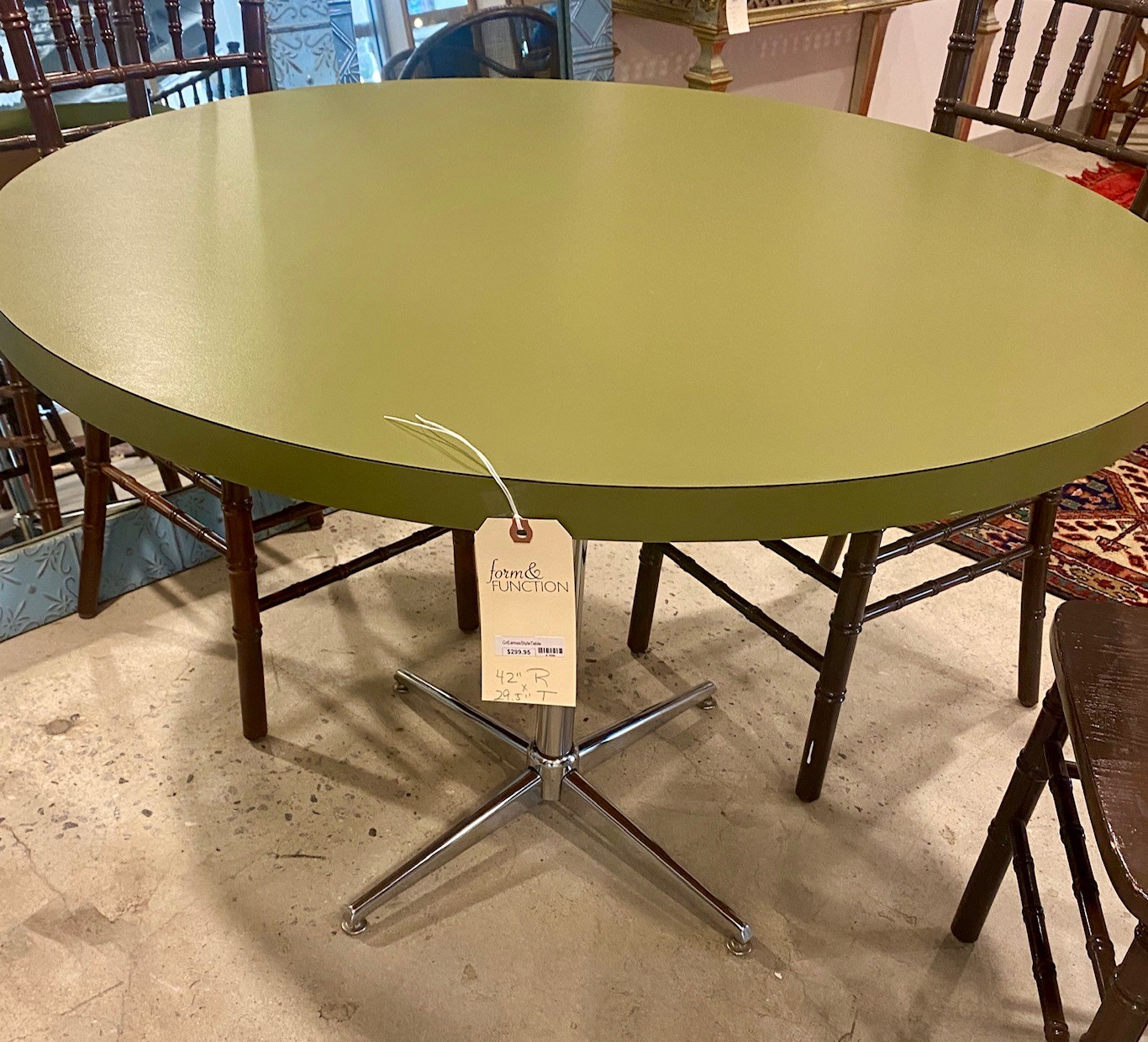 Eames Style Avocado Green Formica Table Chrome Base