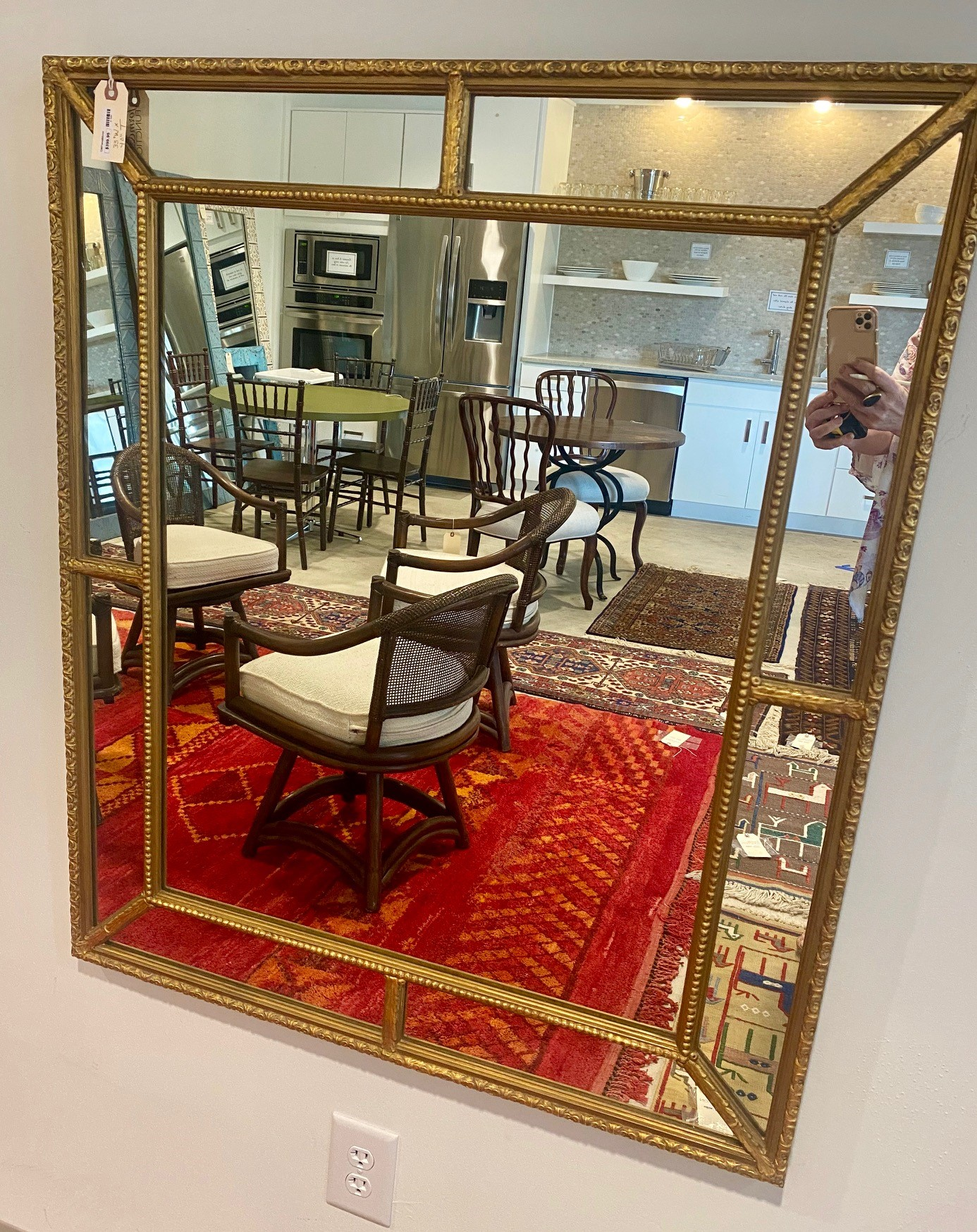 Gilded Wood Inset Mirror
