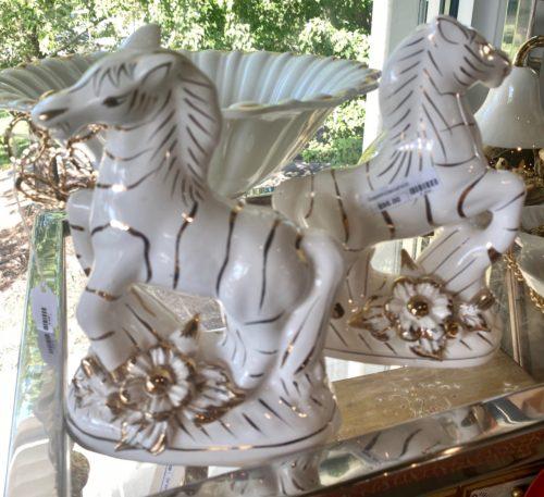 Gold White Ceramic Zebras
