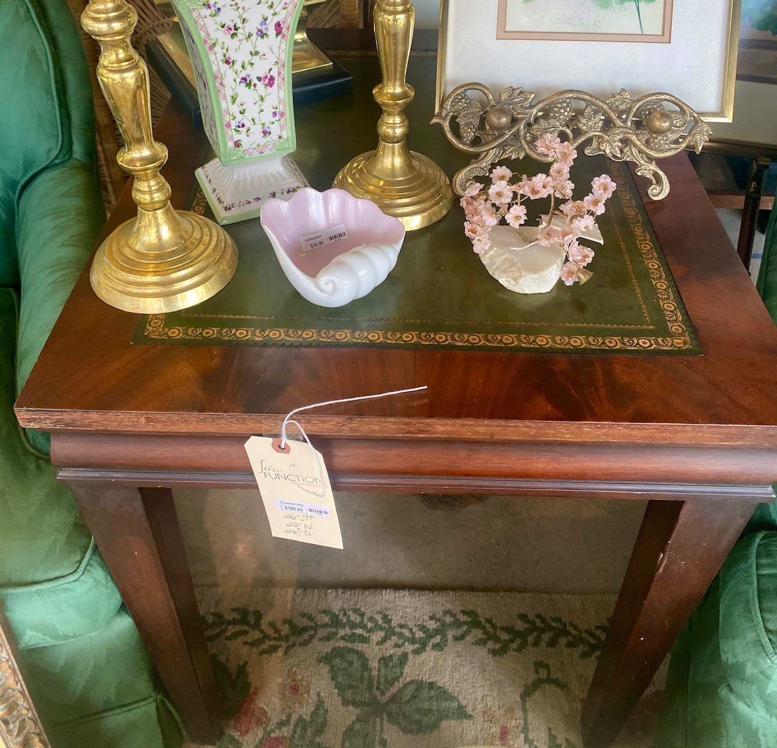 Green Leather Top Side Table
