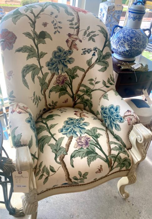 Hickory Chair Bird Fabric Upholstered Chair
