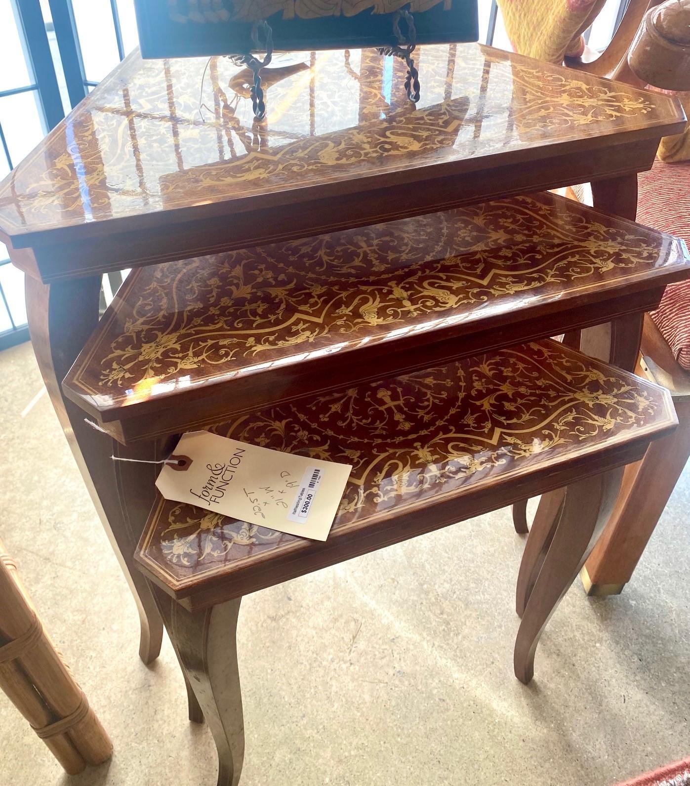 Italian Triangular Music Box Nesting Tables Set