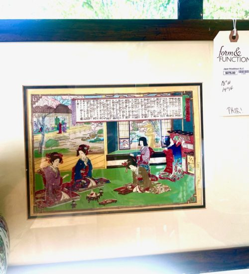 Japanese Woodblock Art Prints Pair