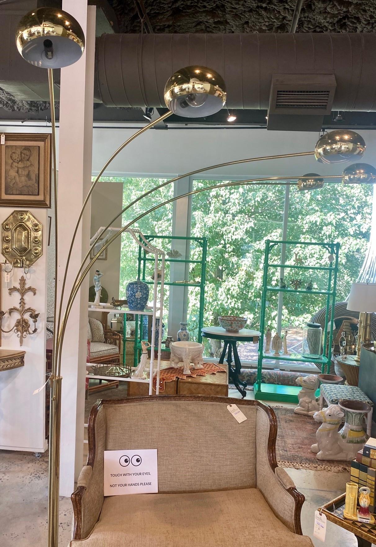 Mid Century Five Arm Brass Floor Lamp
