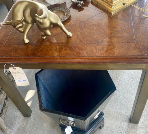 Mid Century Inlay Top Brass Leg Parson Side Table