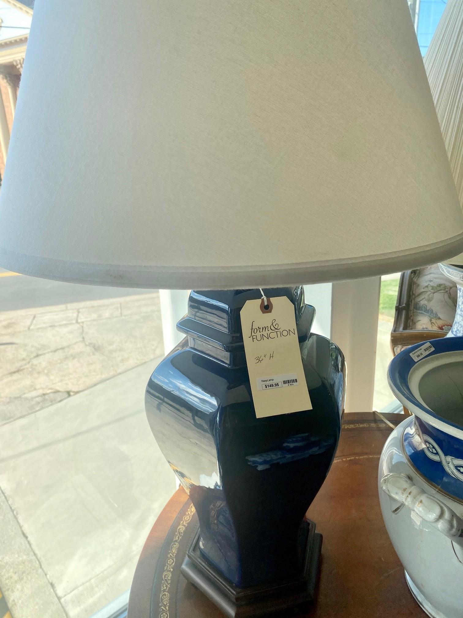 Navy Ginger Jar Large Lamp