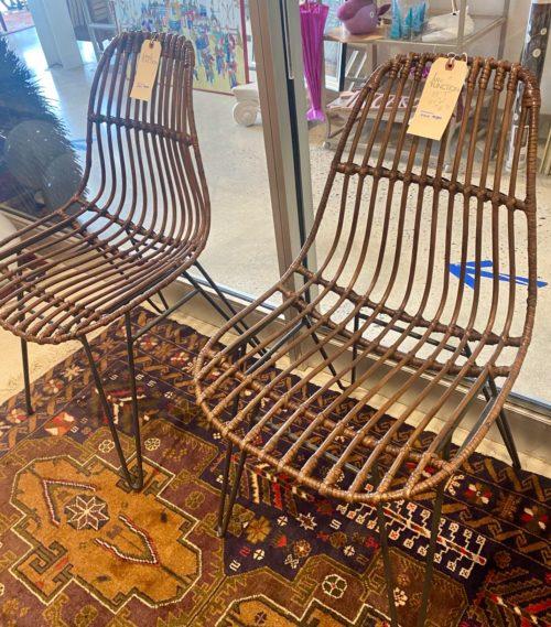Rattan Wicker Hairpin Base Chair