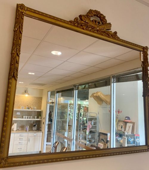 Ribbon Top Gold Mantel Mirror
