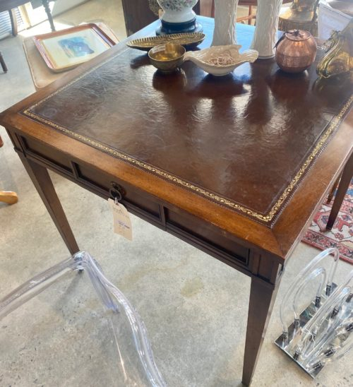 Vintage Hekman Leather Top Game Table