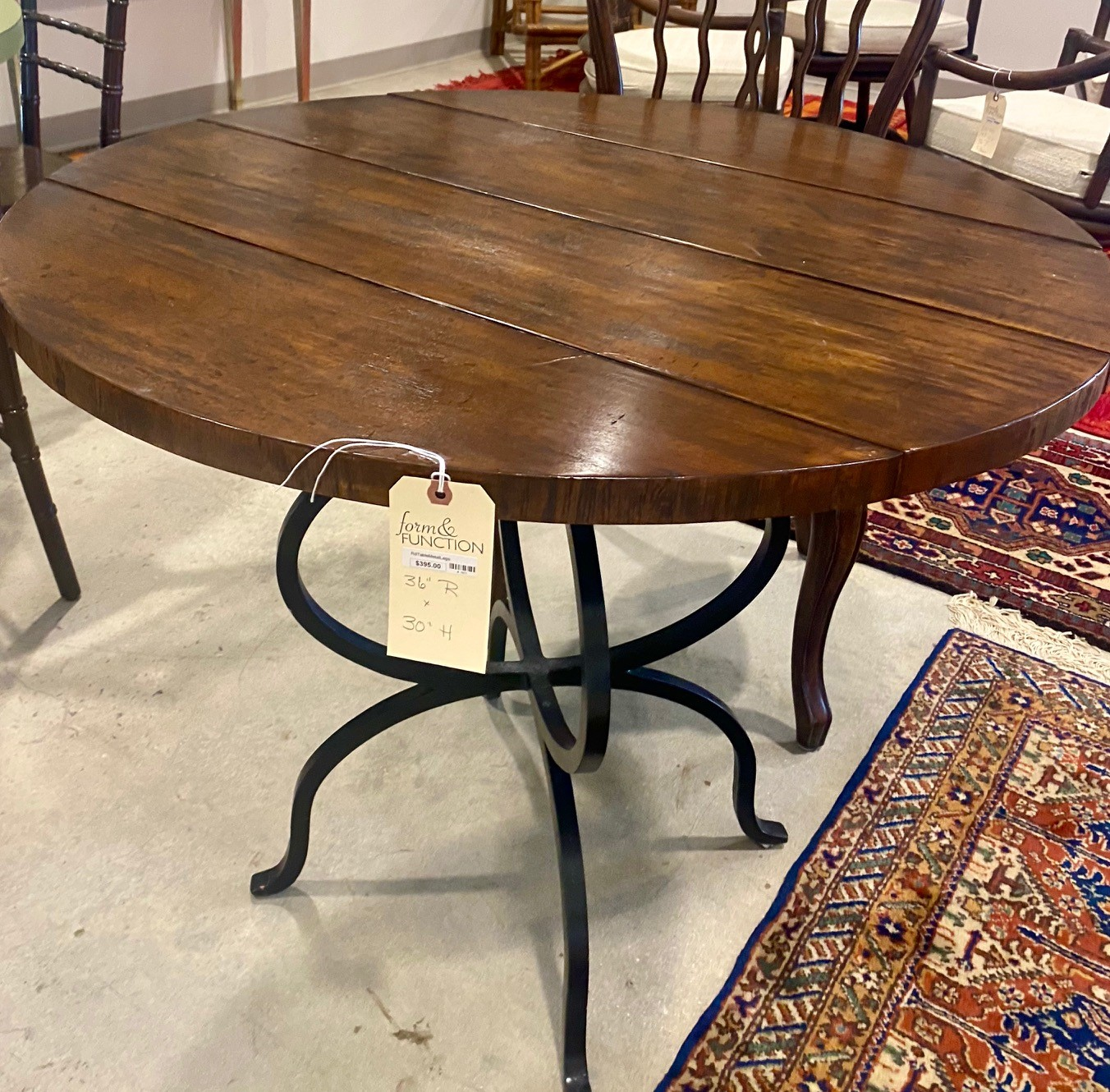 Wood Plank Top Iron Base Bistro Table