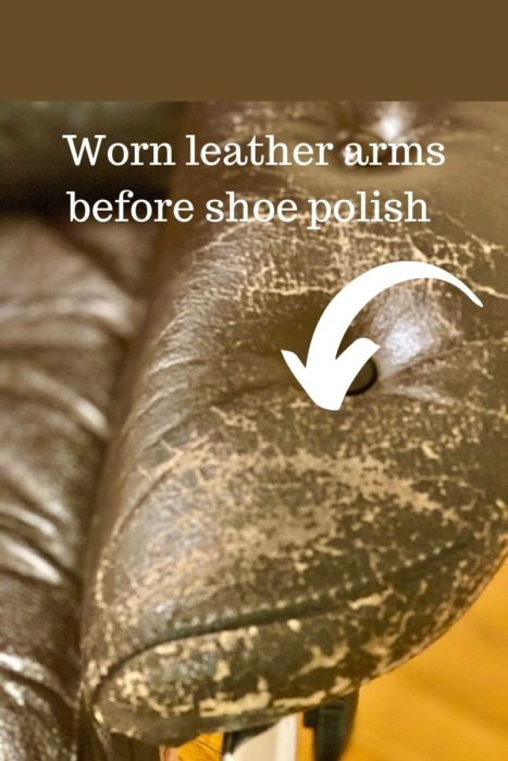 Worn Leather Arms Before Shoe Polish