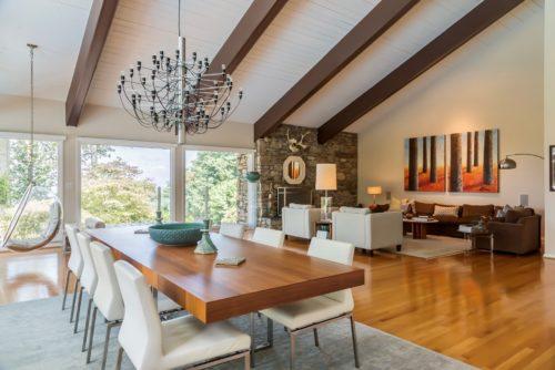 A Frame Brown Beam Ceiling Modern Living Room