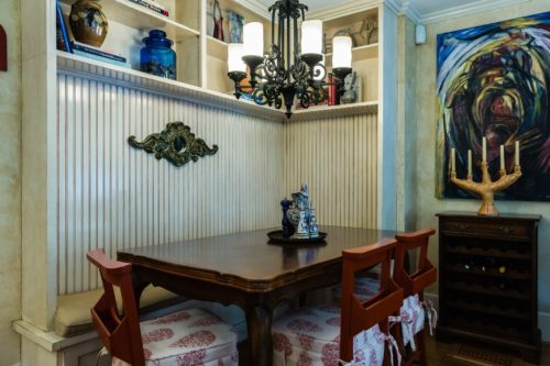 Faux Paint Woodwork Beadboard Banquette Kitchen Eating Area