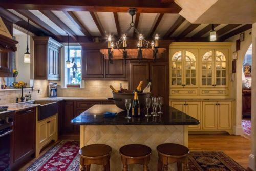 Spanish Kitchen Dark Cozy Wood Beam Ceiling