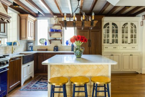Spanish Kitchen Light Counters Mixed Cabinets