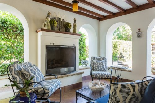 Spanish Loggia Outdoor Porch Fireplace