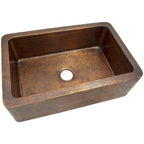 Solid+hand+hammered+copper+large+single+bowl+farmhouse+kitchen+sink