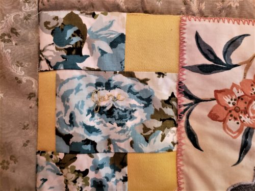 Family Quilt Scrap Fabric Embroidered Names