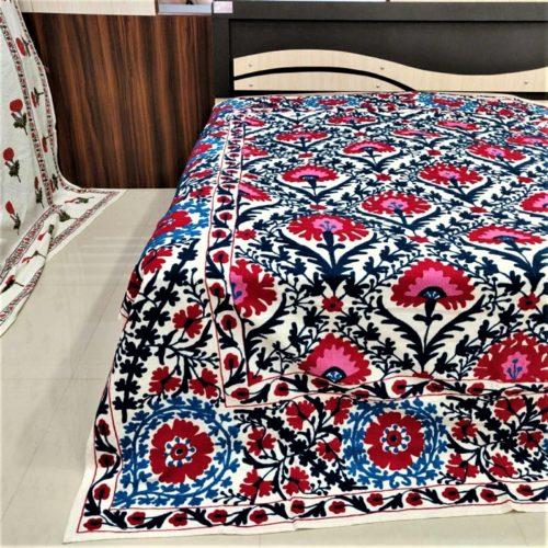 Vintage Suzani Blanket Bedspread Coverlet