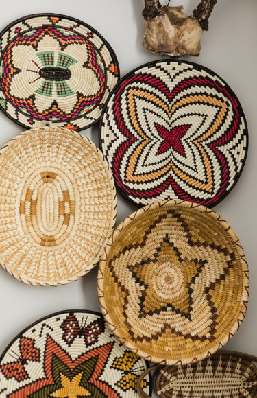 African Basket Collection Hung On Wall