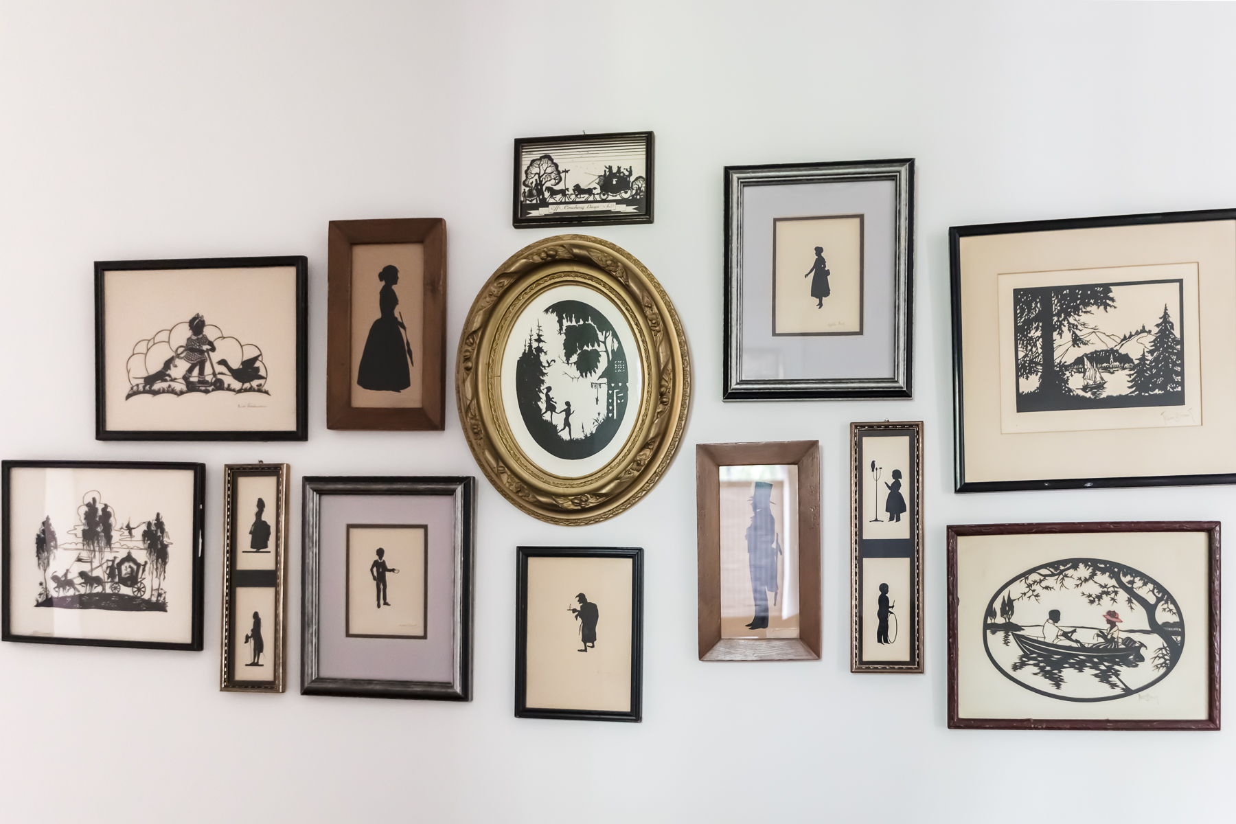 Antique Silhouettes Art Gallery Wall Display