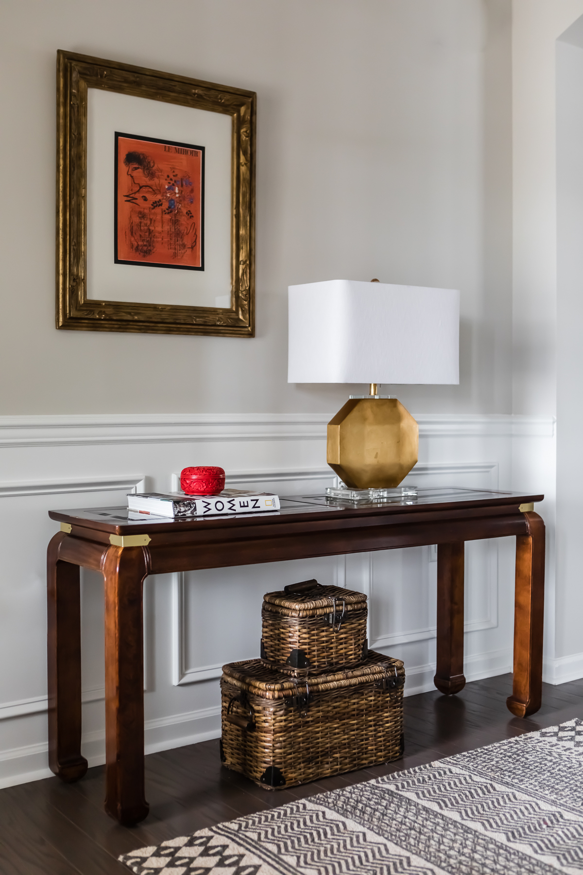 Asian Console Table Chagall Print Vintage Foyer