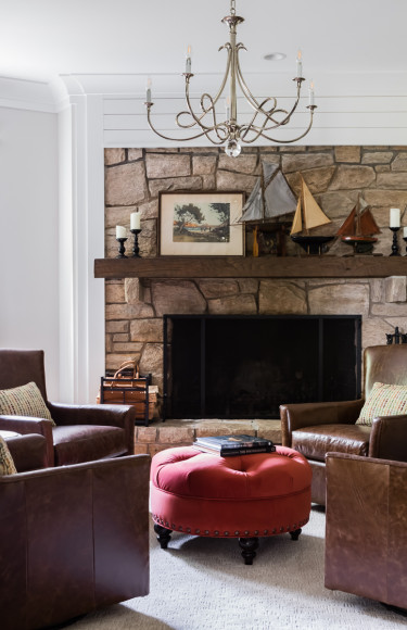 Bar Cocktail Room Stone Fireplace Leather Chairs