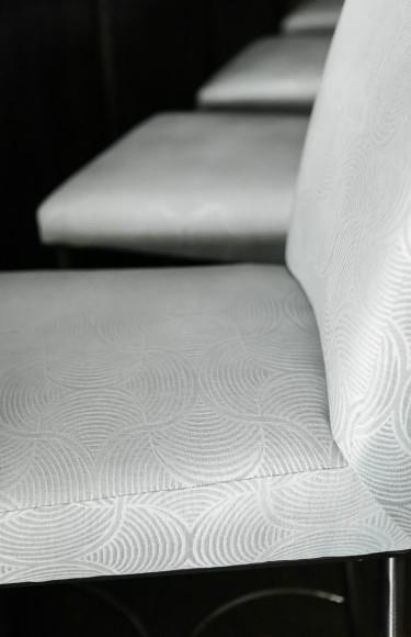 Barstool Blue Grey Fabric Detail