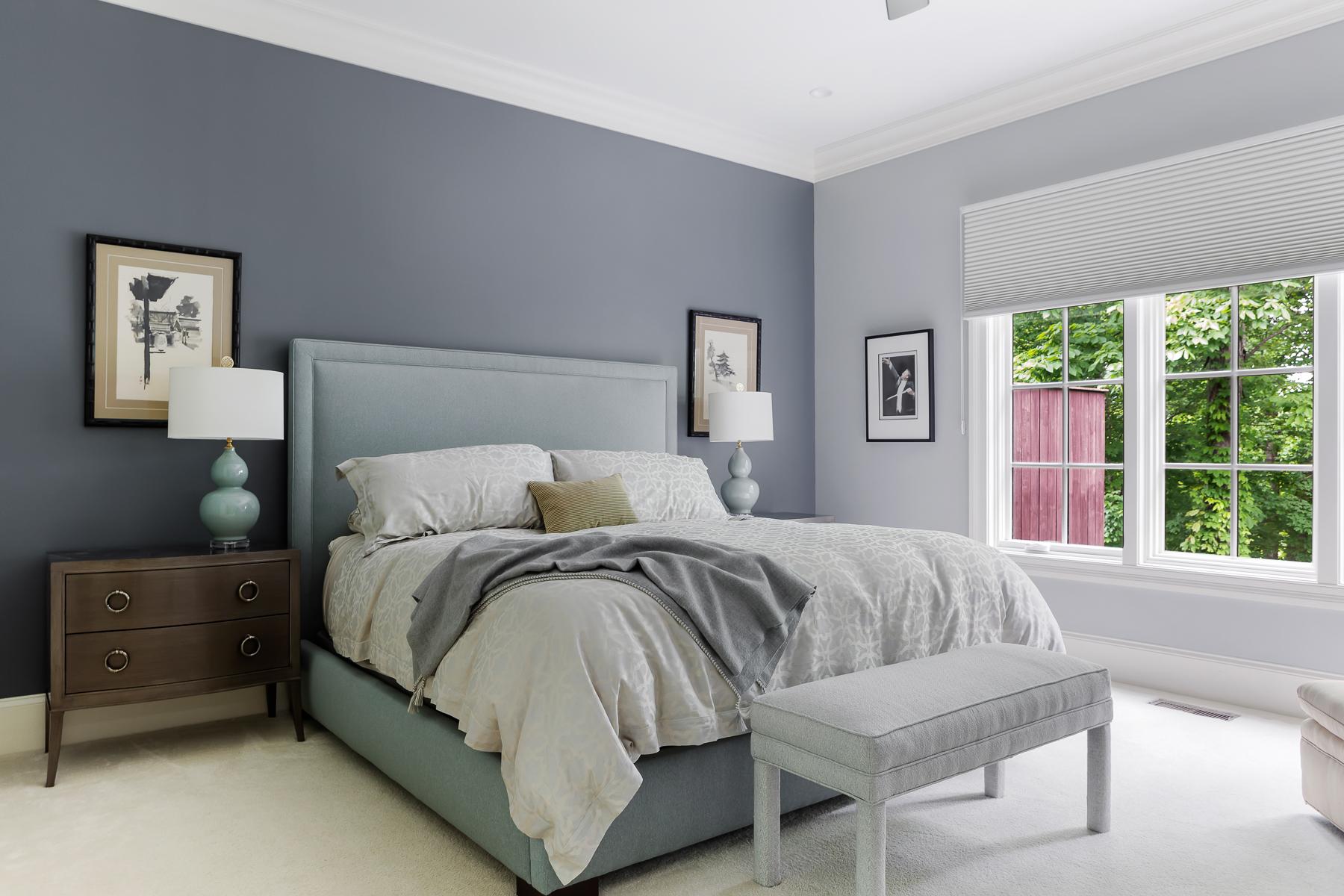 Blue Grey Master Bedroom Upholstered Bench