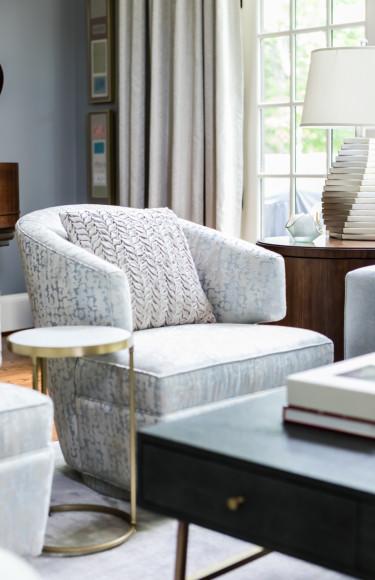 Blue Grey Swivel Chair Muted Pattern Fabric