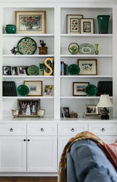 Bookshelf Styling Family Mementos