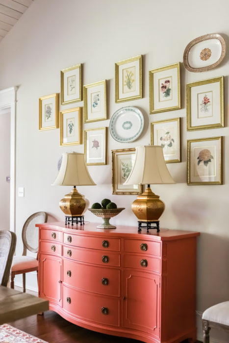Coral Lacquer Sideboard Botanical Art Gallery Wall