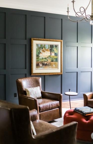 Custom Paneled Painted Wall Cocktail Lounge