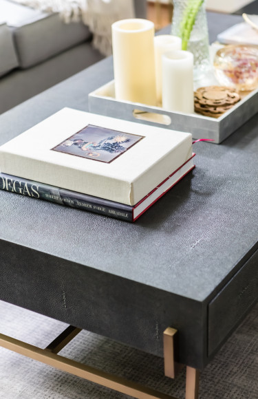 Faux Shagreen Grey Coffee Table Brass Legs