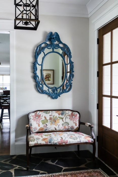 Foyer Custom Lacquer Antique Mirror Upholstered Bench