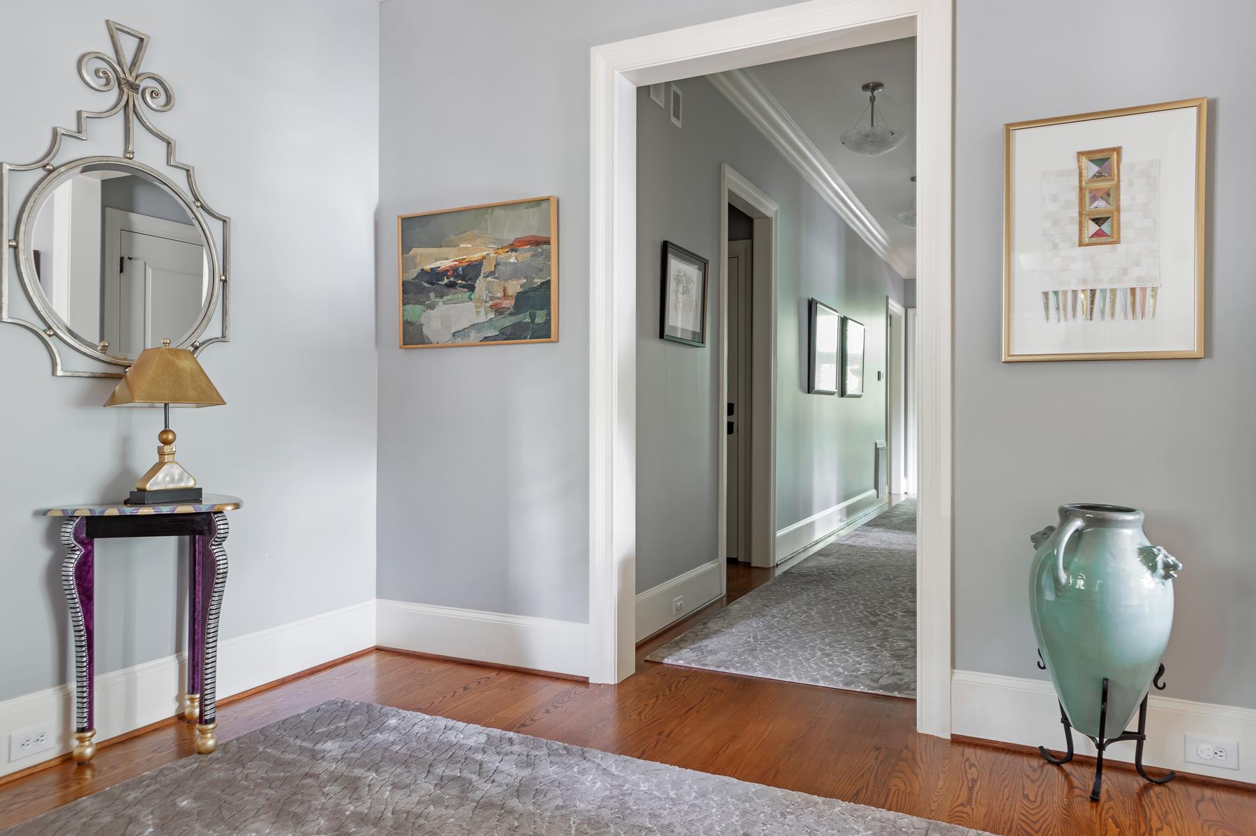 Foyer Front Entrance Blue Grey Walls Rug Details